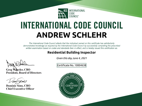 B-1 Residential Building Inspector Certification
